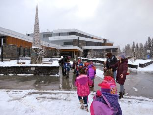 A snowy Library visit in March.